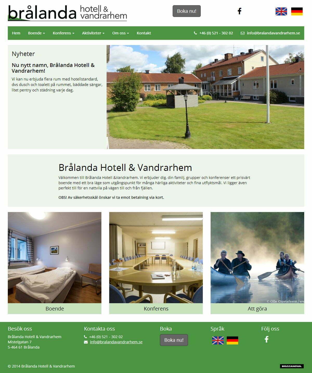 Brålanda Hotell & Vandrarhem: ny hemsida