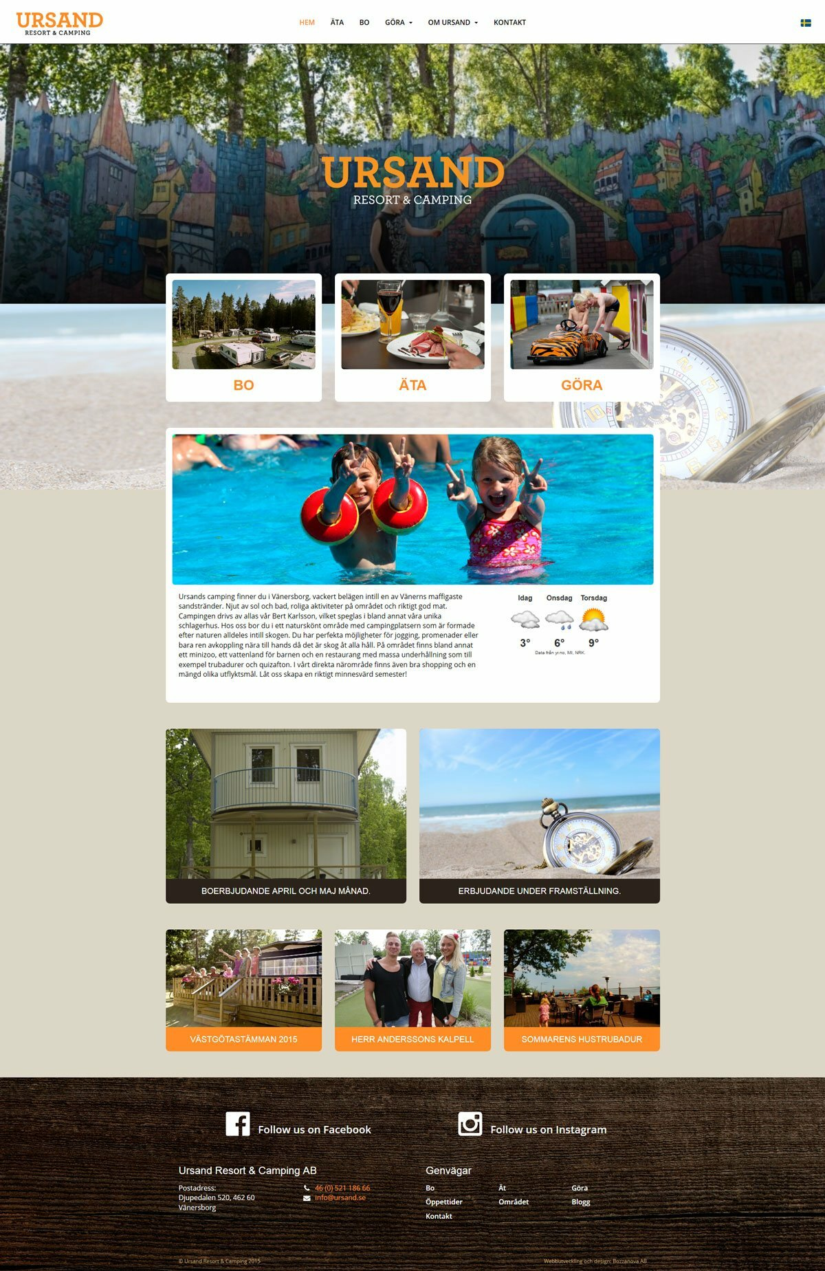 Ursand Resort & Camping får ny hemsida av Bozzanova reklam- och webbyrå