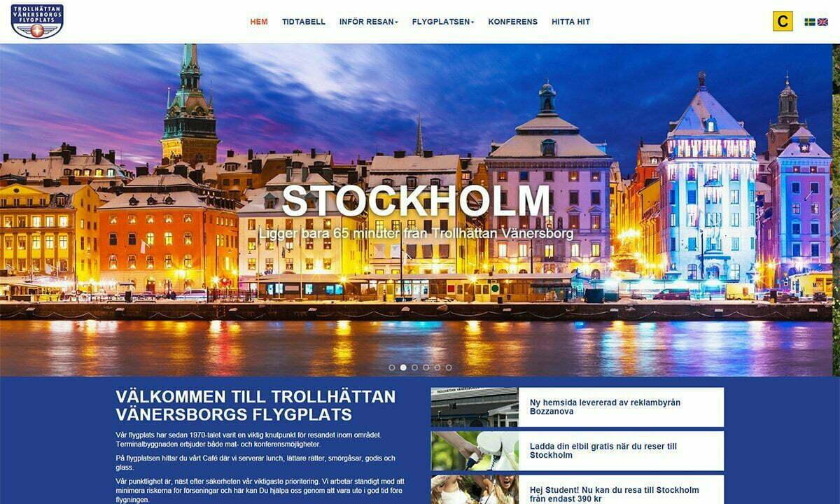 Trollhättan Vänersborgs flygplats har fått ny hemsida av Bozzanova