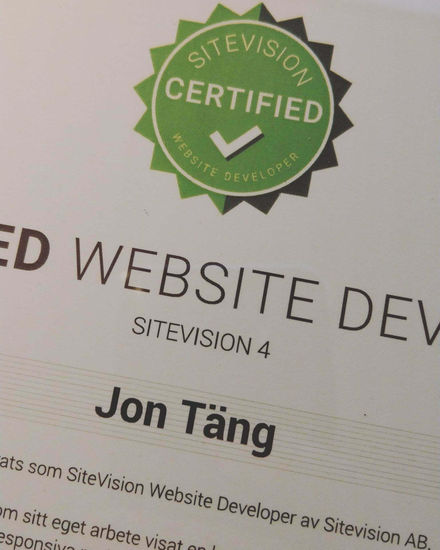 certified sitevision website developer
